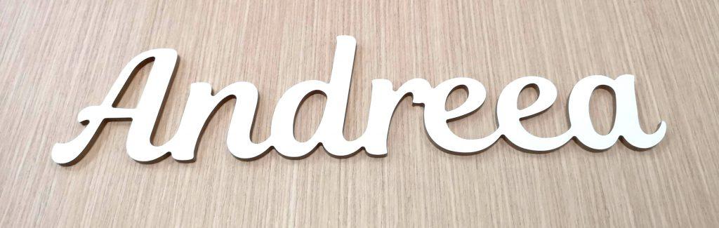 Letrero nombre blanco